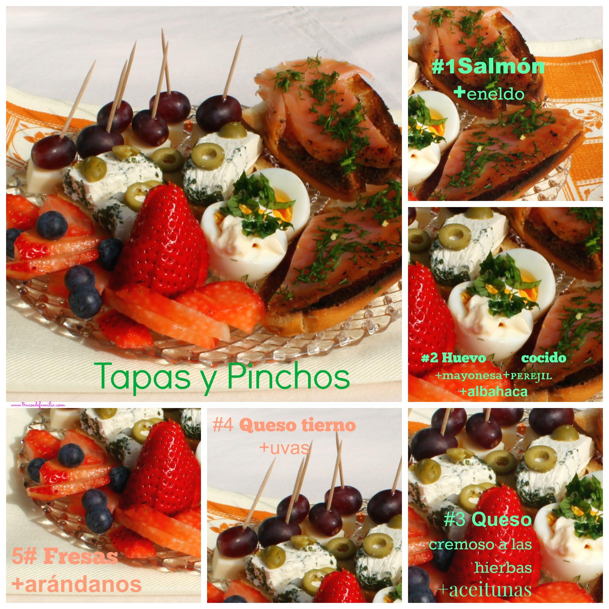 Tapas y pinchos queso, salmón, frutas